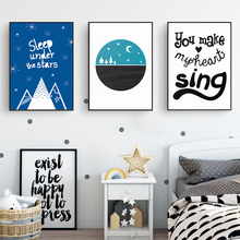Cartoon Sleep Under Stars Moon Blue Sky Nursery Decor Canvas Paintings Nordic Poster Print Wall Art Pictures Kids Room Decor wppwdxen photography flowers under the blue sky print art