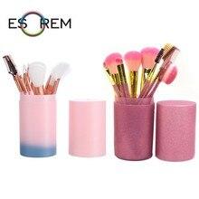 ESOREM 12 Pcs Portable Gradient Makeup Brushes 9pcs Flash Powder Brush  With Cylinder Loose Pincel Maquiagem 62805