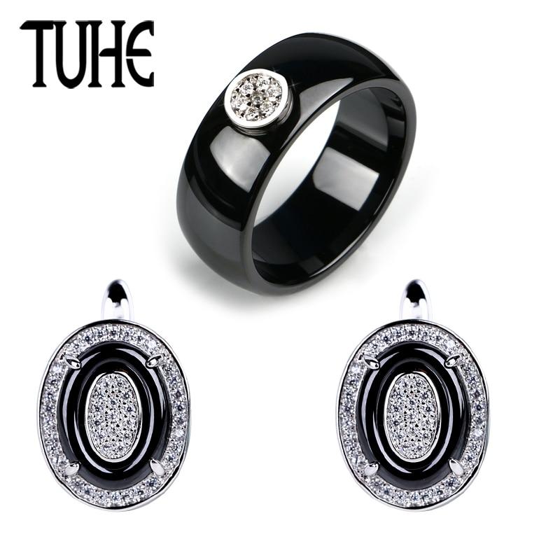 TUHE Fashion Jewelry Set For Women Smooth Wide Ceramic Rings And U Shape Rhinestone Shining Earrings Elegant Wedding Trendy Set
