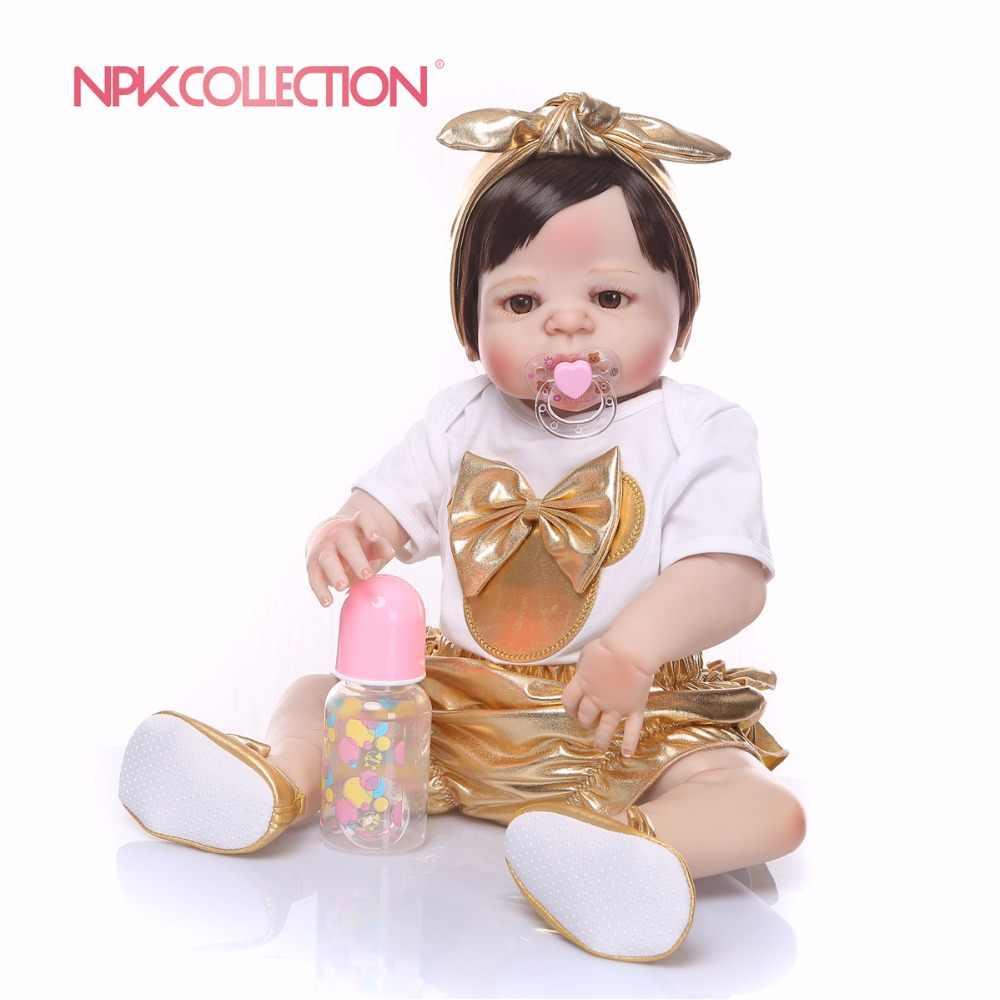 57 CM full body silicone New design golden Pop Vol Siliconen Body Levensechte Reborn Pop Handgemaakte Baby Speelgoed hot koop xmas Geschenken