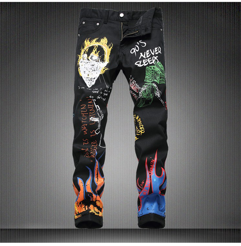 Sokotoo Men's fashion letters flame black printed jeans Slim straight colored painted stretch pants 49