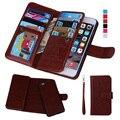 Para el iphone 5s case 2 en 1 desmontable magnética ranura para tarjeta monedero de cuero casos de teléfono para iphone 5 5s 6 6 s plus 7 7 plus case cubierta