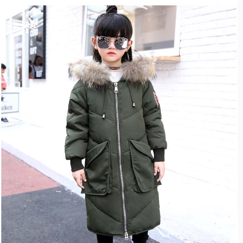 5-14 Yeas Children Duck Down Coat Teenagers Lagre Fur Collar Hooded Warm Coats Parkas Enfant Thick Long Down Clothes Snowsuits 100% white duck down women coat fashion solid hooded fox fur detachable collar winter coats elegant long down coats