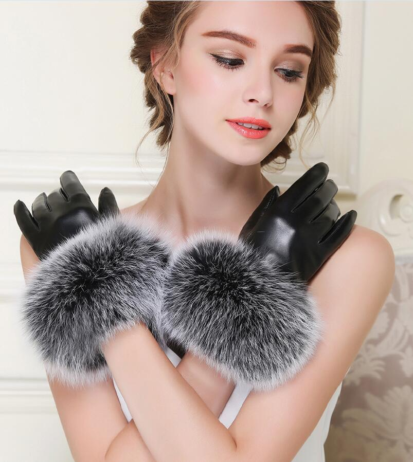 Winter Quality Women's Fox Fur Ball Lovers Thermal Sheepskin Genuine Leather Gloves