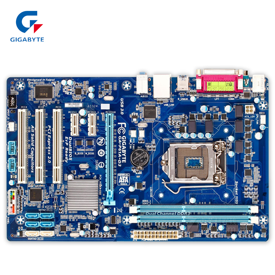 Gigabyte GA-P61A-D3 Original Used Desktop Motherboard P61A-D3 H61 LGA 1155 i3 i5 i7 DDR3 16G ATX ga p61 s3 p61 desktop motherboard large panel p61 s3 a 1155 ddr3 100% tested perfect quality