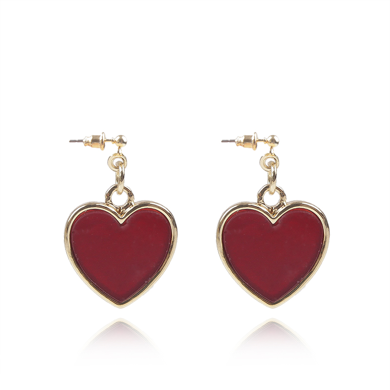 Detail Feedback Questions About New Trendy Long Earrings Stud Earing Red Heart Shape Vintage For Women Jewelry Penntes Brincos 5b5011 On