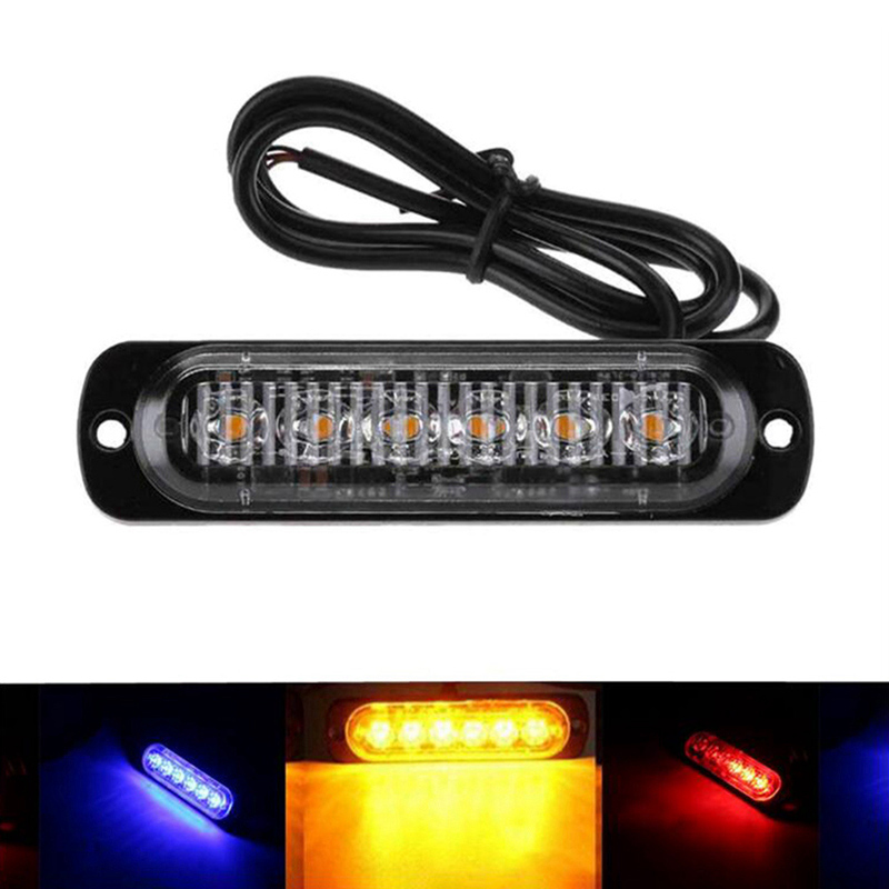 New 6 Led Strobe Warning Light Strobe Grille Flashing Lightbar Truck Car Beacon Lamp Amber Yellow White Traffic Light 12V - 24V