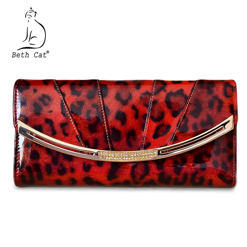 Brand Genuine Leather Women Wallet Long Purse Cowhide Cards Holder Clutch bag Diamound Leopard Fashion Wallet