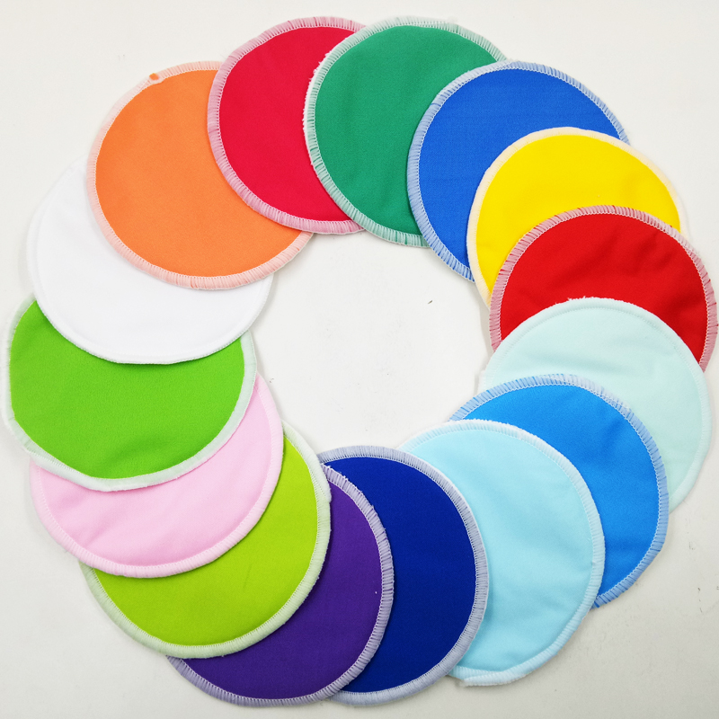 12pcs Super Soft PUL Waterproof Breast Feeding Pads With Organic Bamboo Flannel Inner, Eco Friendly Reusable Cloth Nursing Pads