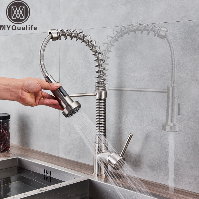 Brushed Nickel Spring Kitchen Sink Faucet Sprayer Stream Spout