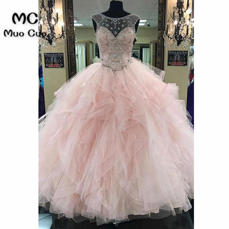 478104f2be1fb Illusion 2018 Ball Gown Prom Dresses with Heavy Crystal Beads by Hand  Organza Ruffles Blush Pink ...