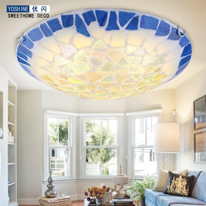 Mediterranean suction dome light circular modern LED bedroom lamp garden style living room dining room lighting Tiffany