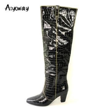 Aiyoway botas por encima de la rodilla de cocodrilo patrón de charol negro invierno moda señoras zapatos de fiesta de tacón medio de punta cuadrada