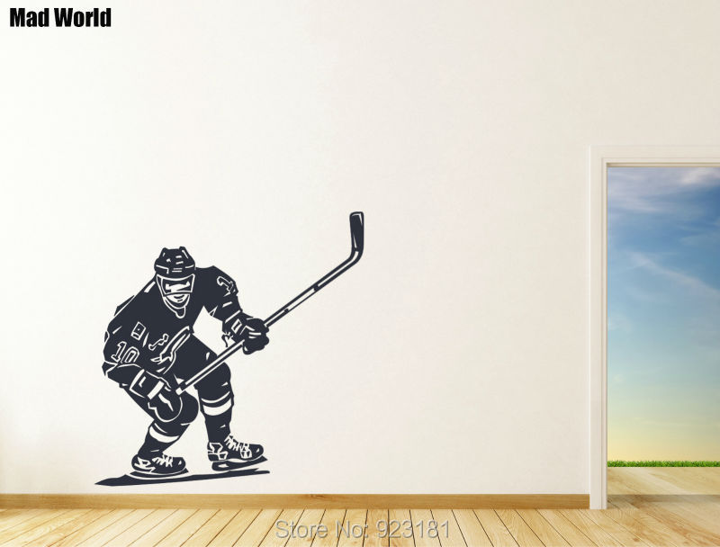 ... Mad World Front Hockey Player Sports Silhouette Wall Art Stickers Wall  Decal Home DIY Decoration Part 40