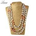 Bien inmueble de joyería de perlas de agua dulce naturales collar largo para las mujeres 190 cm-200 cm, la madre de la moda collar de perlas bolsa de regalos