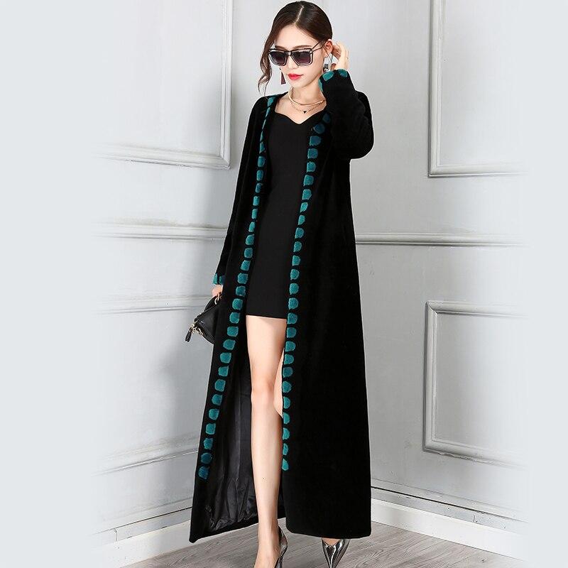 Nerazzurri Winter Wool Coat Women 2019 Slim Thick Long Floor Length Woolen Female Overcoat Real Fur