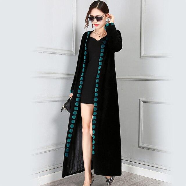 Nerazzurri зимнее шерстяное пальто для женщин 2019 тонкий толстый длинный Пол Длина шерстяные Женский натуральный мех плюс размеры 5XL высо