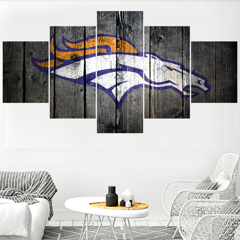 5 Panels Denver Broncos Animal Logo Paintings Wall Art Home Decor ...