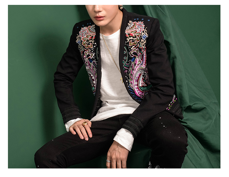 Luxury mens vintage embroidery event/stage performance short fashion jacket/studio/red carpet jacket/ASIA SIZE