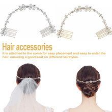 Wedding Scattered Rhinestone Headband Bridal Chain Bride Comb Bridesmaid Headpiece Golden Hair Jewelry Accessories Boho Chic все цены