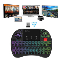 Russian 2.4GHz Mini Wireless Keyboard with Touchpad ,voice search, changeable color LED Backlit, Rechargable Li ion Battery