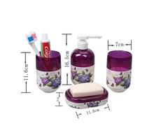 2016new 5pcsset pp creative purple flowers bathroom sets bath accessories wash gargle suit bathroom products
