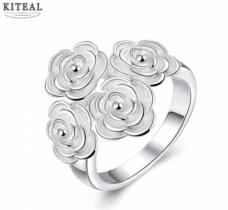 Wholesale Wedding Jewelry fours rose flowers silver Rings for Women Cubic Zirconia Inlayed Engagement Rings Bijoux Women R768