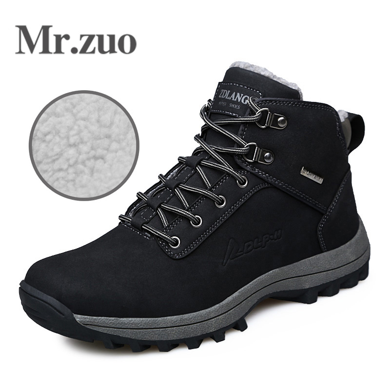 Men Hiking Shoes Winter Sneakers With Fur 2017 Warm Snow Boots Men Shoes Footwear Male Rubber Trekking Boots  big sizes 45 46 2017 hot sell big size outdoor boots men high top warm snow boots winter hiking shoes leather men trekking sneakers black