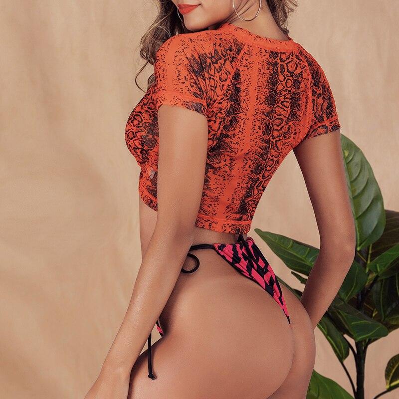 HTB15ydSdEGF3KVjSZFoq6zmpFXag Brazilian bikini thong Micro print bikini Neon swimwear women 2019 bathers Push up 3 piece swimsuit female string bathing suit