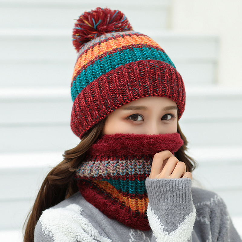 HT2083 Winter Hat Scarf Set Thick Warm Knitted Hats And Scarf Big Pompon Ball Beanies Ladies Ski Beanie Hats With Scarf Women