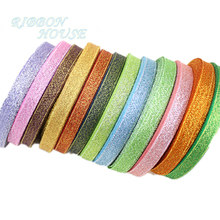 (25yards/roll) 3/8''(10mm) Metallic Glitter Ribbon Colorful gift package ribbons wholesale(China)