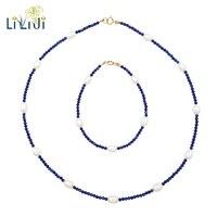 Lii Ji Piedra Preciosa Lapislázuli Natural de Agua Dulce Perla plata de Ley 925 Collar de La Pulsera de La Joyería Del Regalo Del Partido