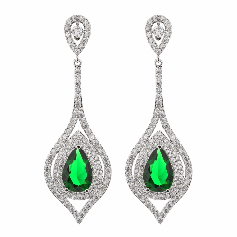 Luxurious and exaggerated pear-shaped zircon earrings, female/girl wedding party fashion jewelry.ER-217