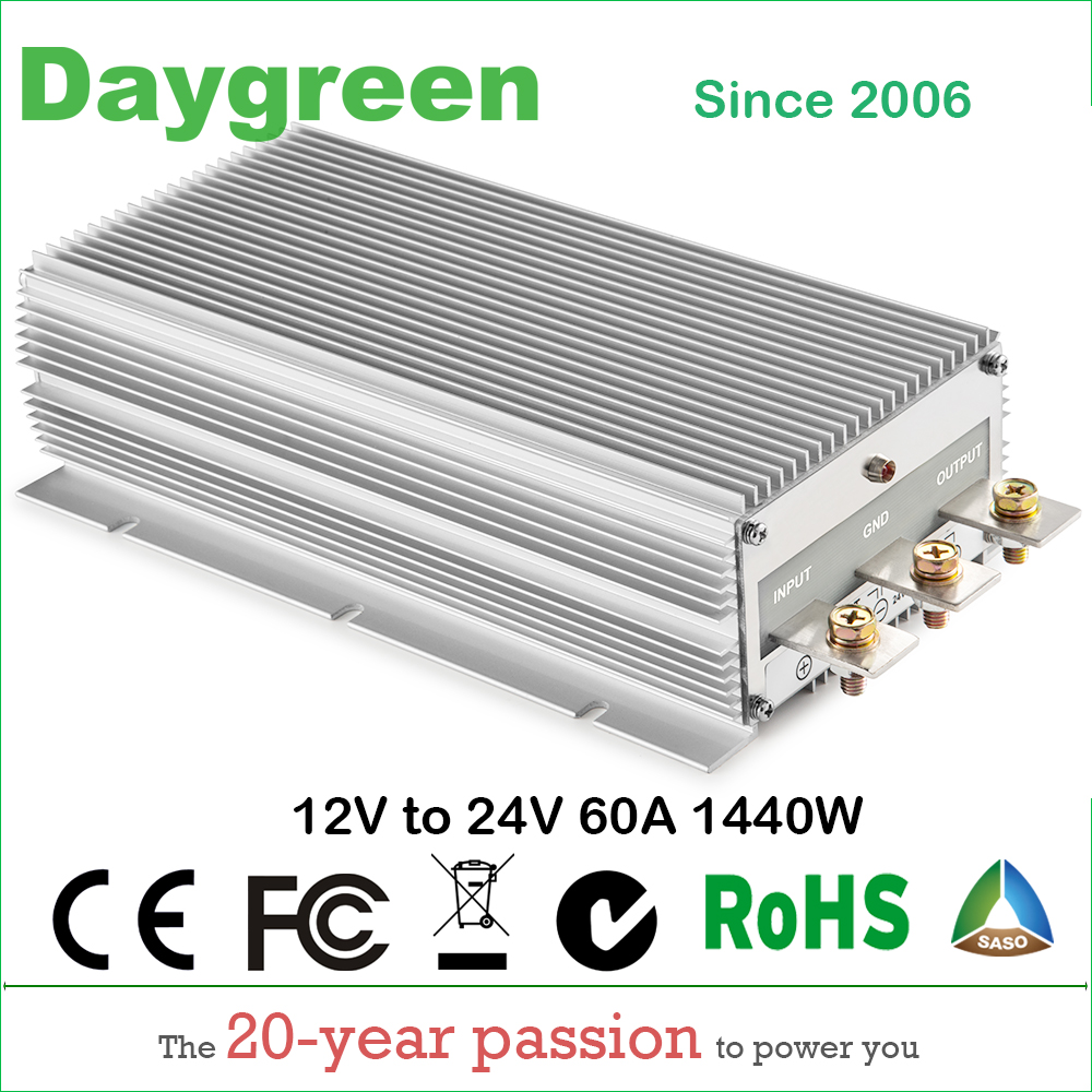 12V TO 24V 60A STEP UP DC DC CONVERTER 60 AMP 1440Watt H60-12-24 Daygreen CE RoHS Certificated цена