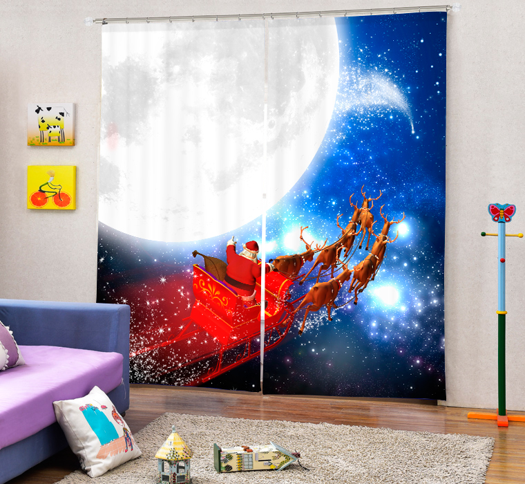 Christmas Santa Claus And Deers 3D Painting Blackout Curtains Office Bedding Room Living Room Sunshade Window Custom made Size