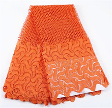 African Orange Lace Fabric High Quality Nigeria Lace 2017 guipure lace For Women Water Soluble Fabrics
