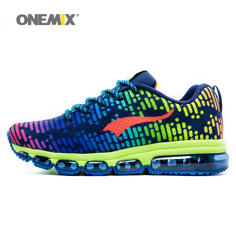 ONEMIX Sports Shoes For Men Cool Air Cushion Sneakers Breathable Mesh Colorful Vamp Women Non-Slip Running Shoes Soft Insole