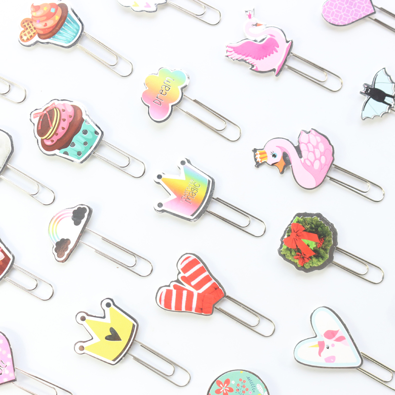 Domikee Original Creative Cute School Metal Paper Clips Set Stationery,kawaii Student Index Bookmark For Diary Planner Gift,6pcs