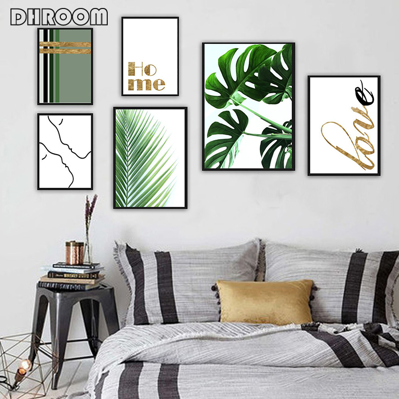 DHROOM Tropical Palm Leaf Green Plants Wall Art Monstera Poster Prints Gold Quote Canvas Art Painting Wall Picture Home Decor