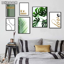 DHROOM Tropical Palm Leaf Green Plants Wall Art Monstera Poster Prints Gold Quote Canvas Painting Picture Home Decor