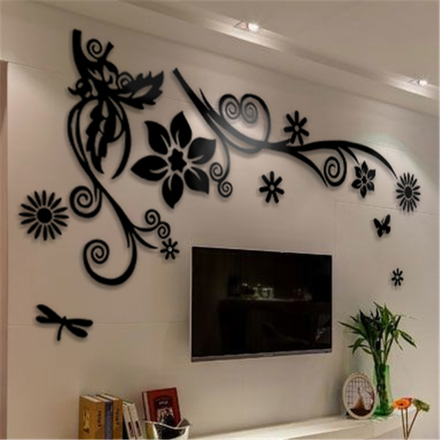 3D stereo Flower vine Acrylic Crystal Wall stickers Home Decor Diy Mirror Wall sticker Tree Living room Sofa TV Background Decal 3