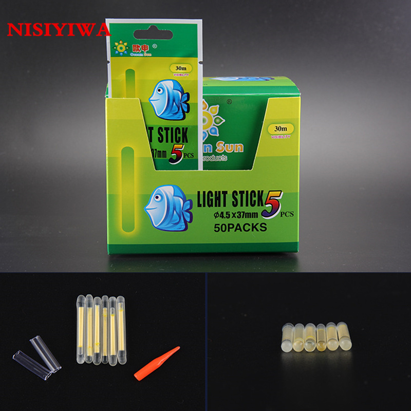 Fishing Glow Stick Lights 4.5 mm x 37 mm Packs Of Five