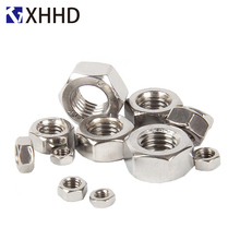 304 Stainless Steel Hex Nut Metric Threaded Hexagon DIN934 M1 M1.2 M1.6 M2 M3 M4 M5 M6 M8 M10 M12 M14 M16