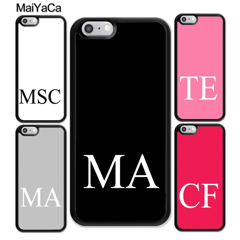 MaiYaCa Personalised INITIALS Custom Printed Soft Rubber Phone Cases Accessories For iPhone 6S 7 Plus 8 X XR XS MAX 5S SE Cover