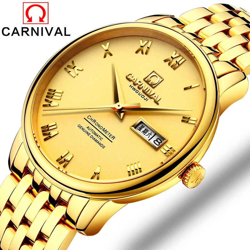 Carnival Watch Men Automatic Mechanical Luminous Full Gold Stainless Steel Waterproof Week Date Watches боровиков п vasa второе рождение
