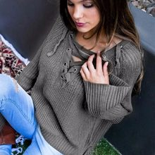 fdc48bd615 Sexy lady winter crop lace up pullovers sweater womans knitted sweater  irregular pullovers streetwear(China