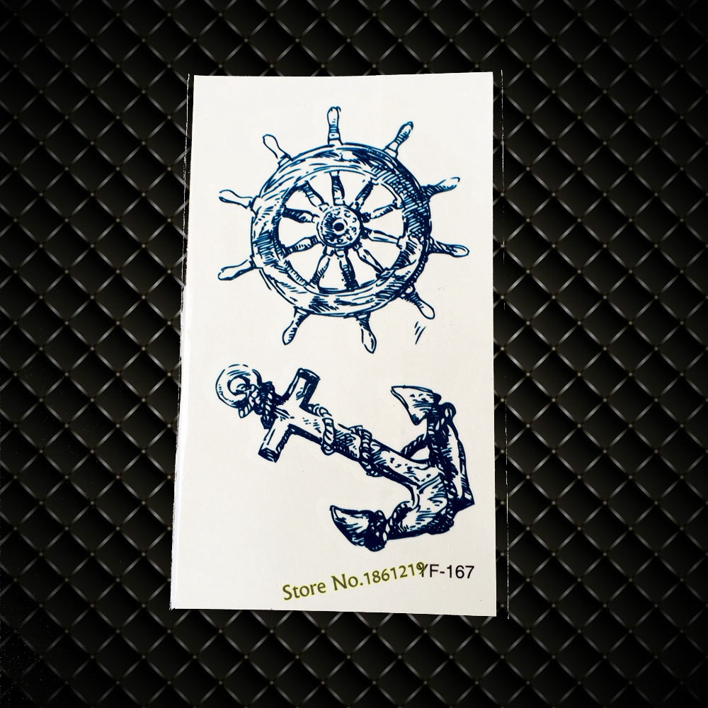 New Sexy Men Women Body Painting Tattoo Sticker Gyf Vintage Anchor Rudder Marine Pirate Design Arm Leg Waterproof Fake Tattoo