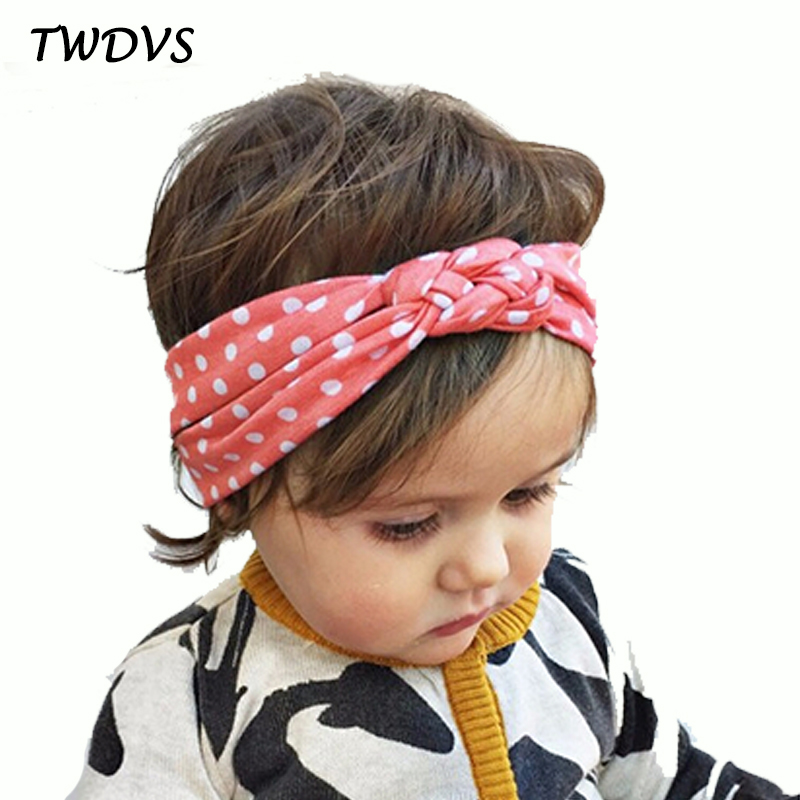 TWDVS Kids Printing Knot Hair Band Newborn Elastic Cotton Headband Ring Hair Accessories Kids Headwear W146