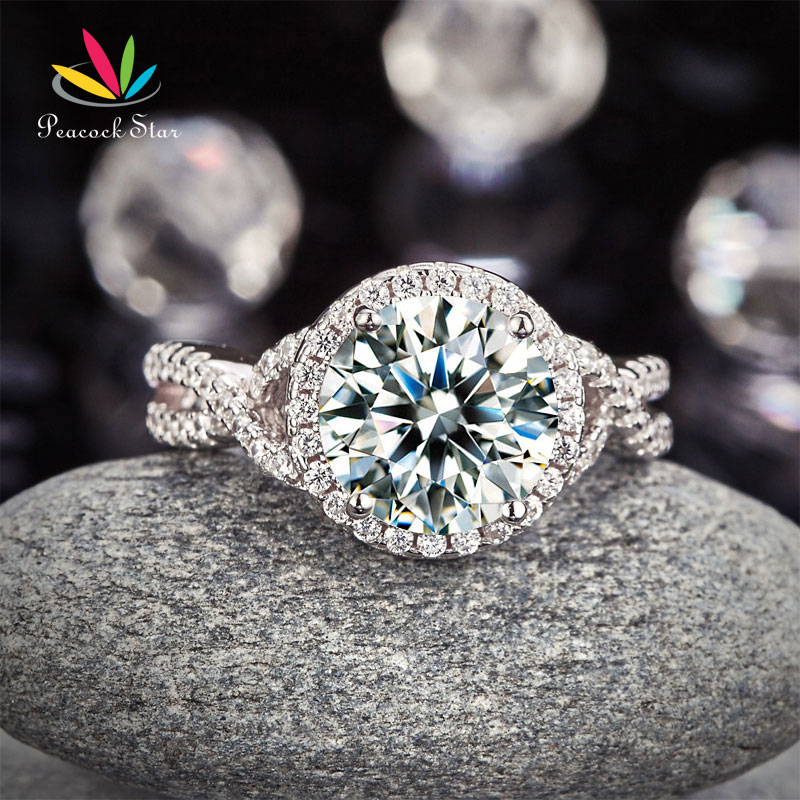 Peacock Star 3 Carat 925 Sterling Silver Wedding Engagement Luxury Ring Promise Anniversary CFR8243