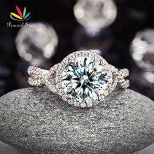 Павлин Star 3 925 карат Серебряная свадьба обручальное Роскошные кольцо обещание годовщина CFR8243